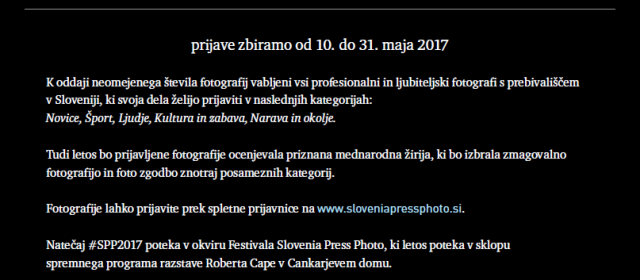 SLOVENIA PRESS PHOTO 2017: odprte prijave na natečaj  dokumentarne in novinarske fotografije