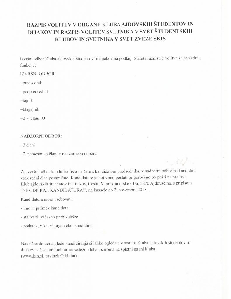 Razpis volitev 2018 - 1
