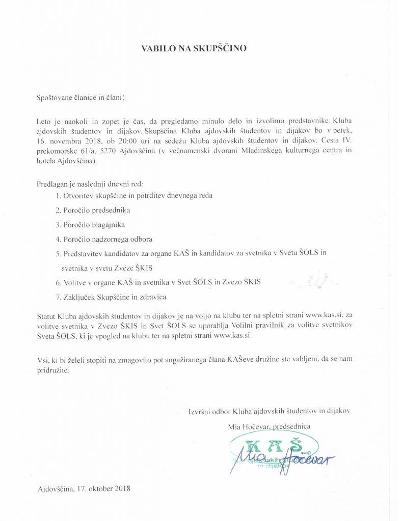Vabilo skupščina 2018 - podpisana